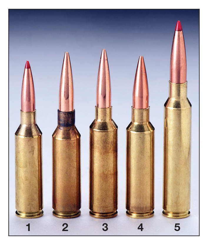Handloaders have long been using heavy bullets seated out to win matches and set records with the center three cartridges almost since they were introduced years ago. Cartridges include the (1) 6.5 PRC, (2) 7mm SAUM, (3) 7mm WSM, (4) .300 WSM and (5) .300 PRC. While the center three require custom chambers, 6.5 PRC and .300 PRC rifles are available off-the-shelf with long-throated chambers.
