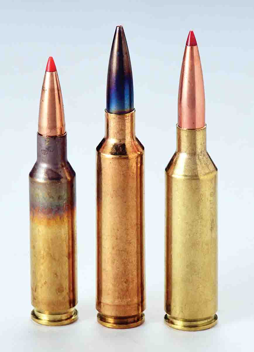 Left to right: The 6.5 Creedmoor, 6.5-284 Norma and 6.5 PRC are designed with long chamber throats in SAAMI specifications for seating long bullets well out of the cartridge cases.