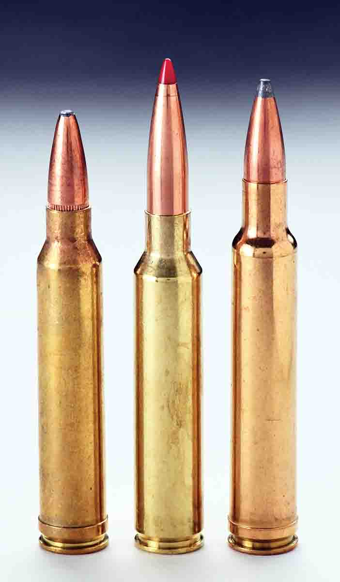 Left to right: The .300 Winchester Magnum, .300 PRC and .300 Weatherby Magnum cartridges are in the same performance class.