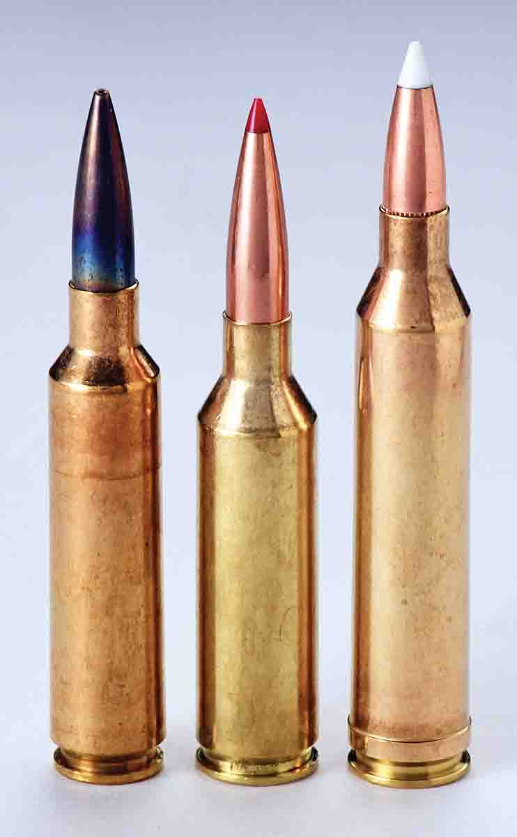 Left to right: The 6.5-284 Norma, 6.5 PRC and .264 Winchester Magnum. The .264 Winchester has a chamber throat setup similar to the .300 Magnum that is large at the case mouth with an immediate taper and no straight section. This throat­­­ is  designed for a cartridge with a short head height and has worked well for hunting cartridges.