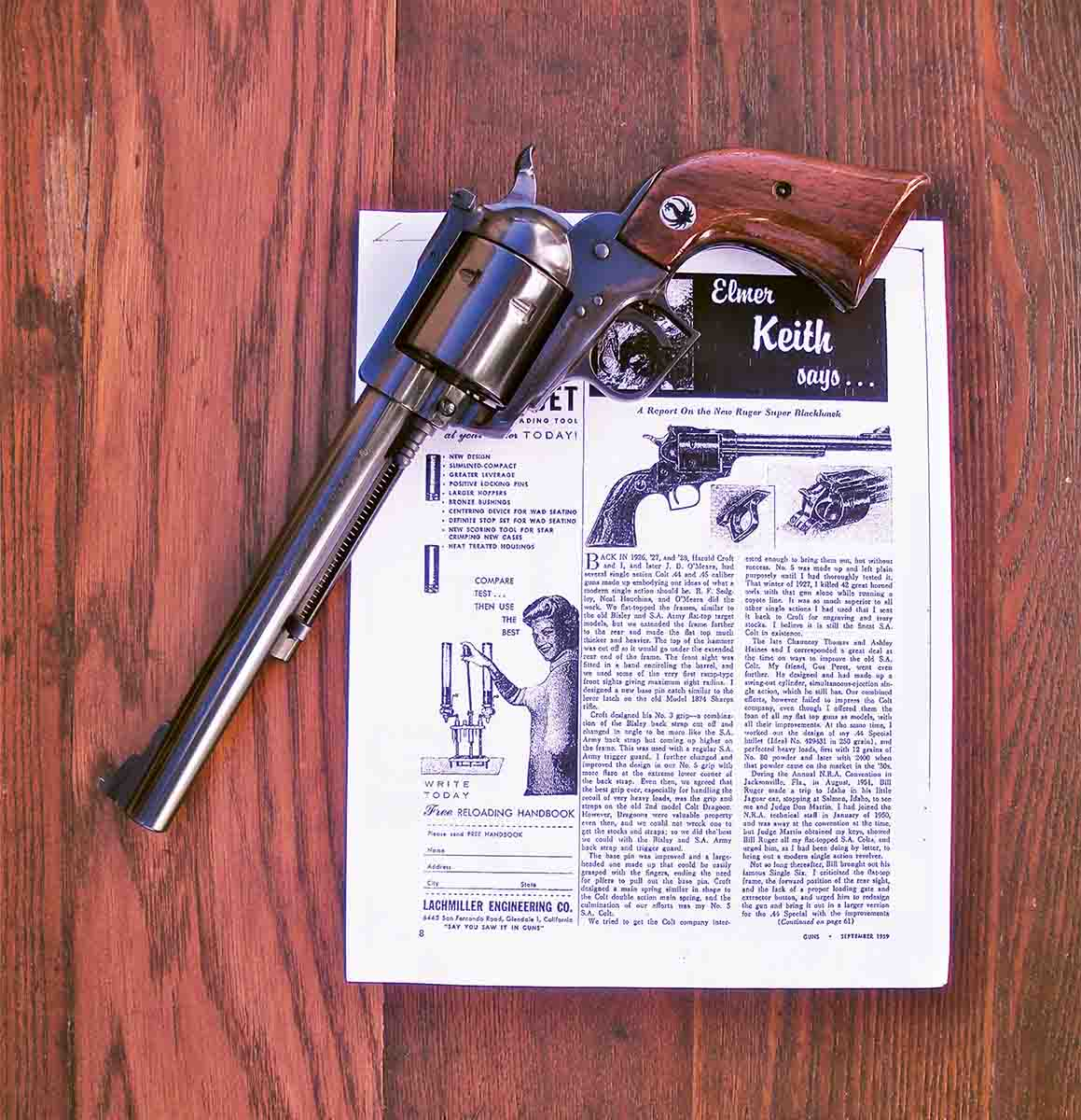 Elmer Keith reviewed the new Ruger Super Blackhawk .44 Magnum in the September 1959 issue of GUNS magazine, but did not mention bears.