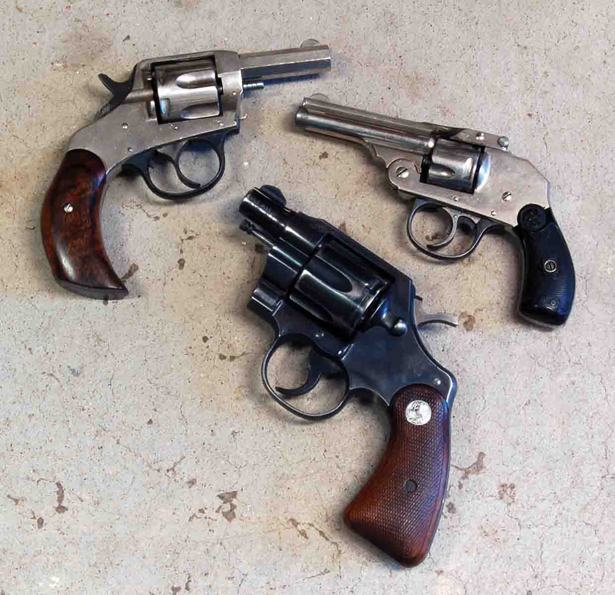 Small .32s include a (1) H&R and a (2) Iver Johnson. A (3) Colt Marshall .38 Special is shown for comparison.