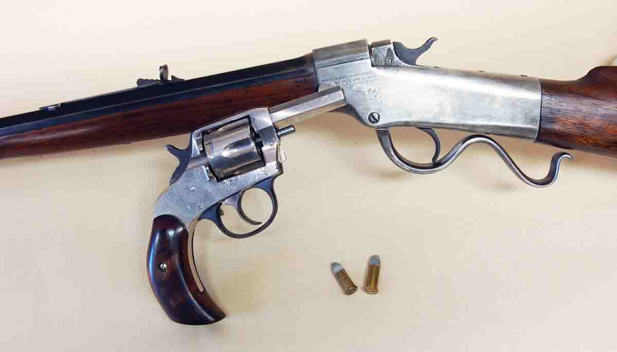 This Ballard rifle and H&R revolver are both chambered for .32 Colt.