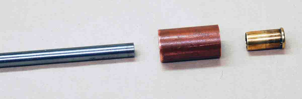 To size case mouths for heeled bullets, Gil made a small die for use in an arbor press.