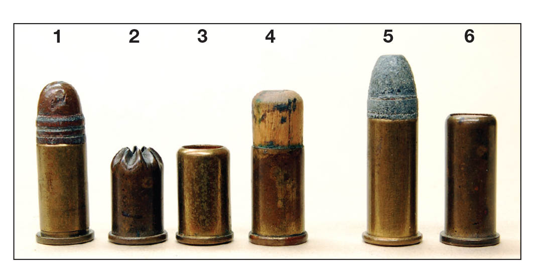 "These cartridge include the (1) .32 Short Colt, (2) unmarked blank, (3) Winchester Repeating Arms blank, (4) unmarked shot load, (5) .32 Long Colt and a (6) Winchester Repeating Arms shot load in a standard length case. Many such rounds were simply stamped ""32"" and fit in both .32 Colt and .32 S&W chambers."