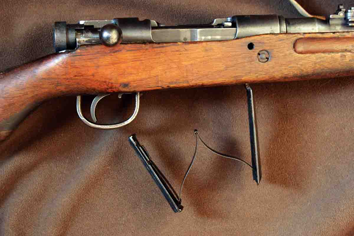The Type 99 Arisaka rifle is one of the few military bolt actions from the early twentieth-century that features a hinged floorplate.