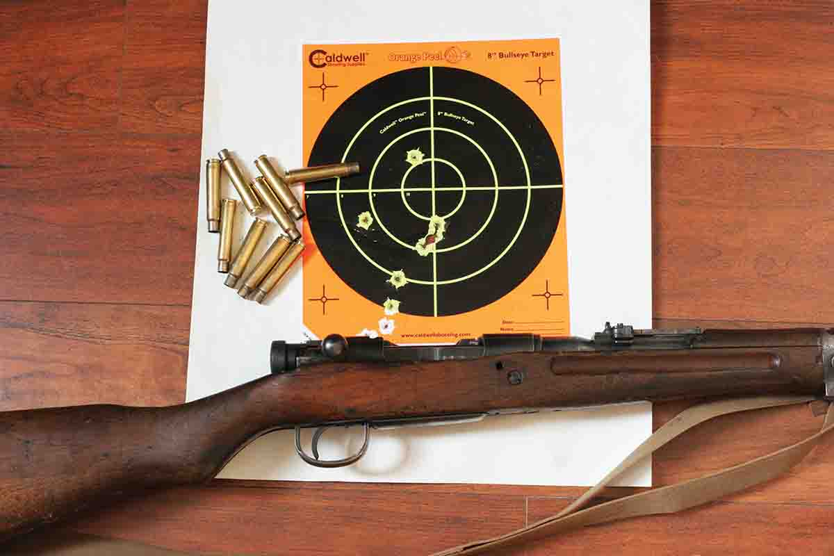 Accuracy varied considerably with different bullets, probably because of the very deep, wide rifling grooves. With the right  handloads, however, the rifle grouped three shots around an inch at 50 yards.