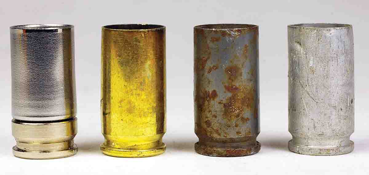 Handgun cartridge cases have traditionally been made from brass. Less expensive metals like aluminum and steel have been substituted, but they are not reloadable. Shell Shock cases are made with an aluminum head and nickel-steel body and are fully reloadable. Left to right: Shell Shock, brass, steel and aluminum 9mm Luger cases.
