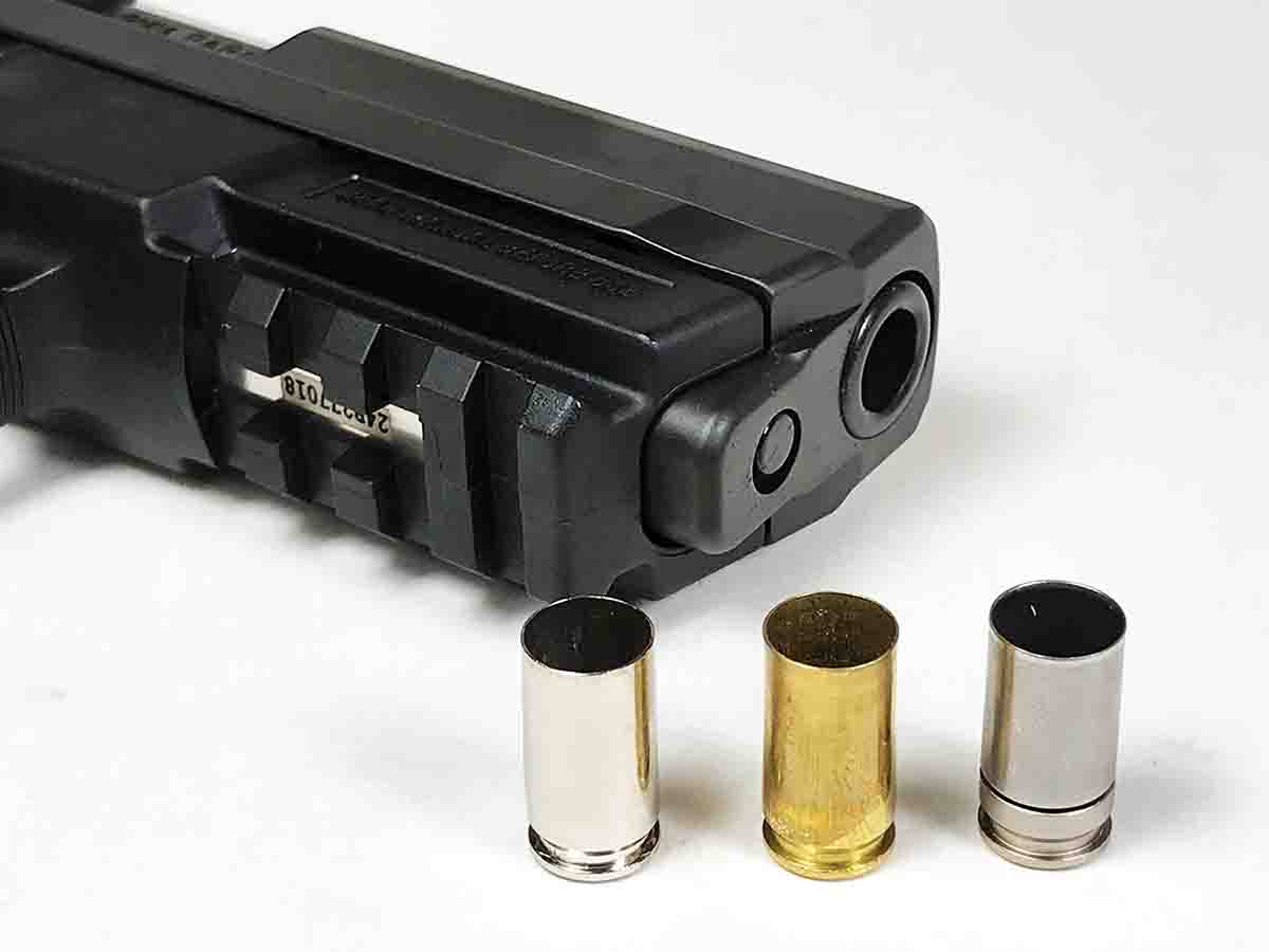 Nickel-plated SIG (left), plain brass Winchester (center) and NAS3 (right) cases developed very similar velocities loaded with Speer 115-grain bullets and Blue Dot and Power Pistol powders shot from a SIG Sauer SP2022.