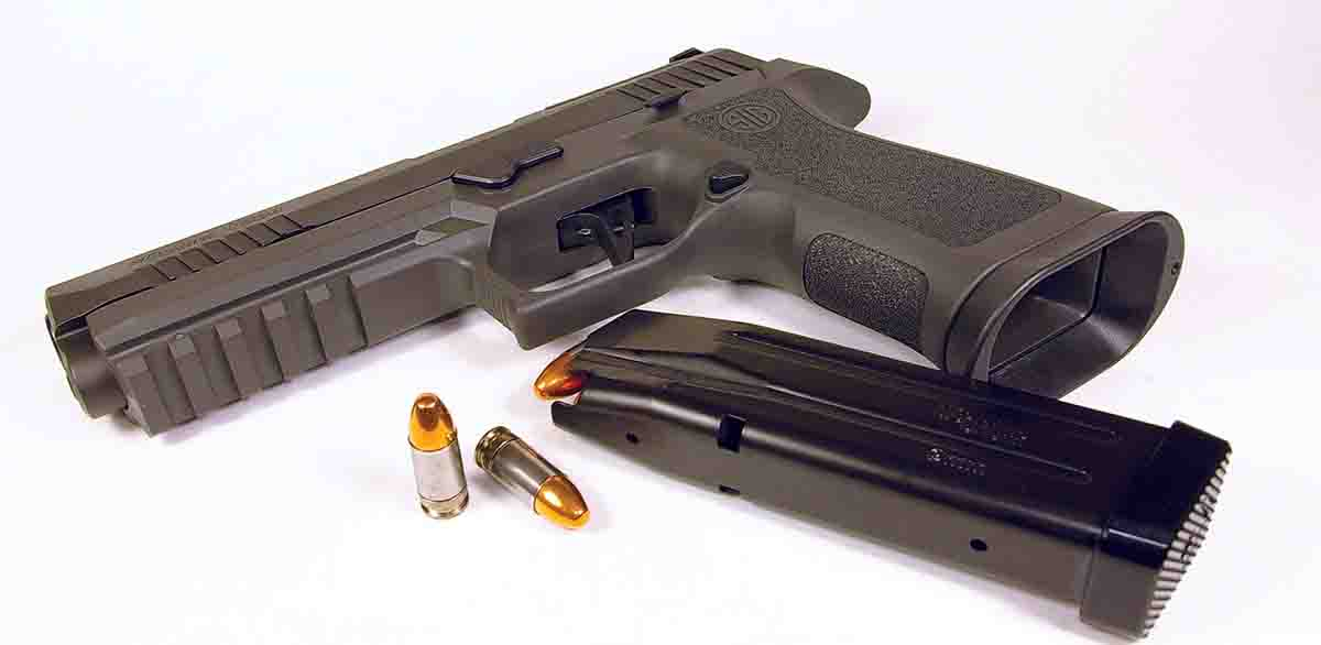 A SIG Sauer Legion P320 XFive 9mm Luger was also used to test various loads with Shell Shock cases.