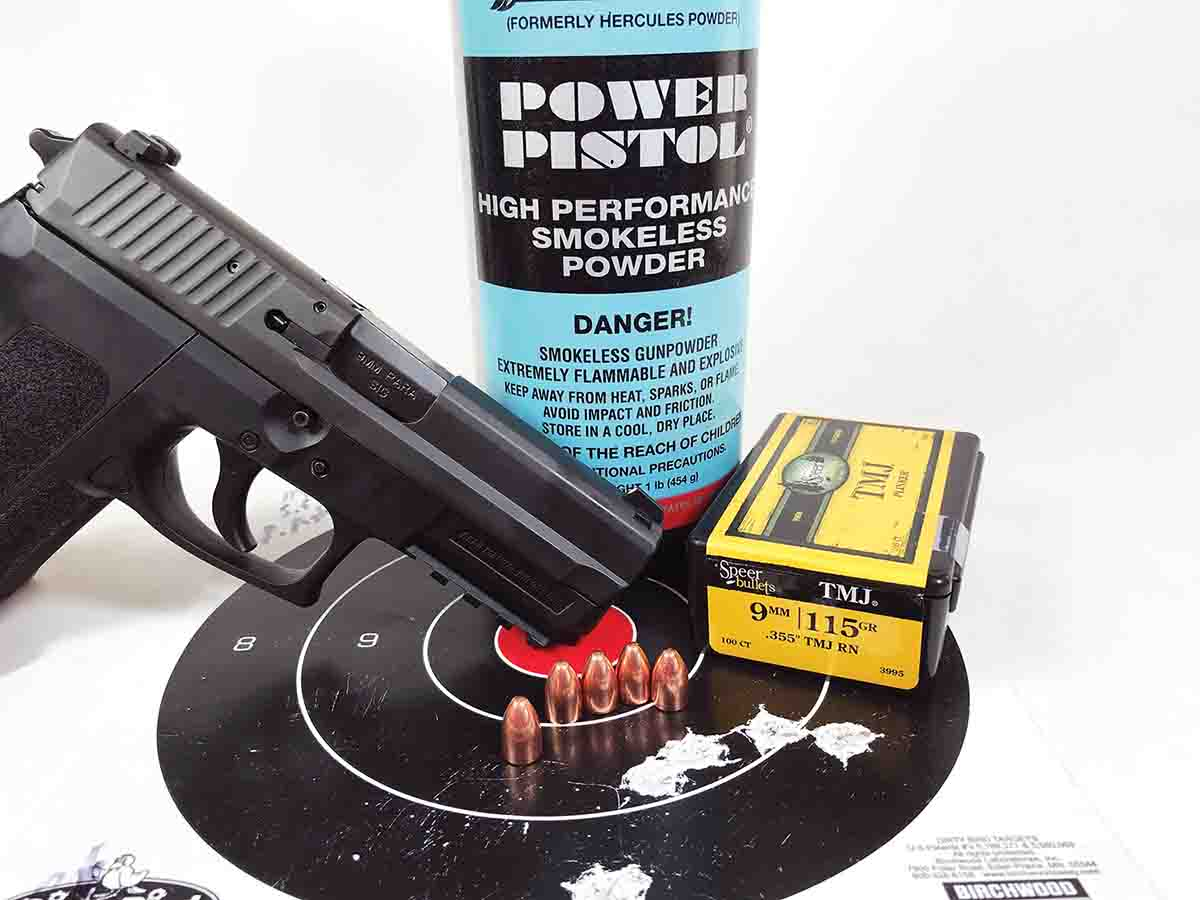 Power Pistol powder with Speer 115-grain bullets loaded in Shell Shock cases provided this group at 25 yards fired from a SIG Sauer SP2022 9mm Luger.