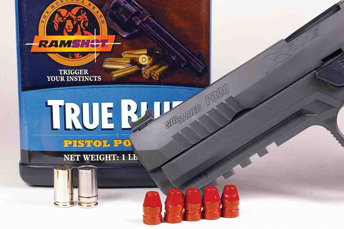 True Blue powder paired with cast bullets in Shell Shock cases shot well from a SIG Sauer P320.