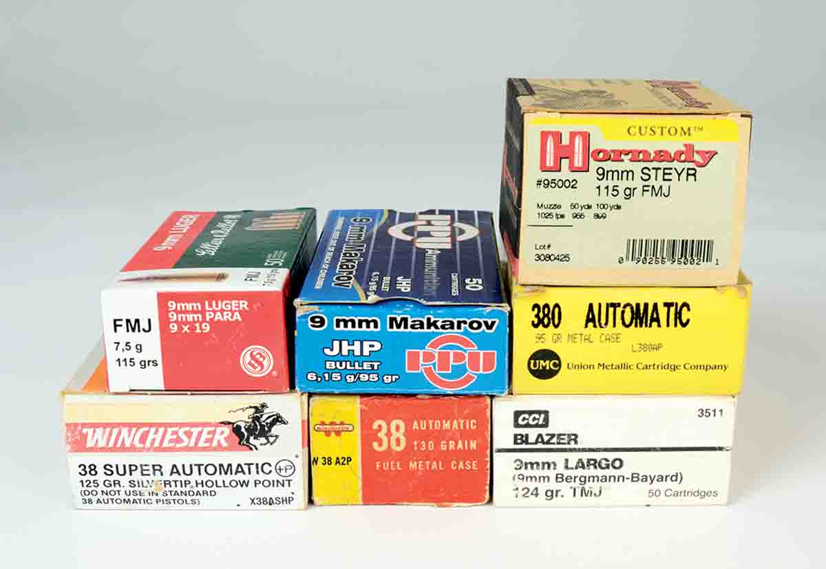 On his ammunition shelves, Mike found these eight cartridges that are either 9mm in name only, or 9mm in reality despite their names.