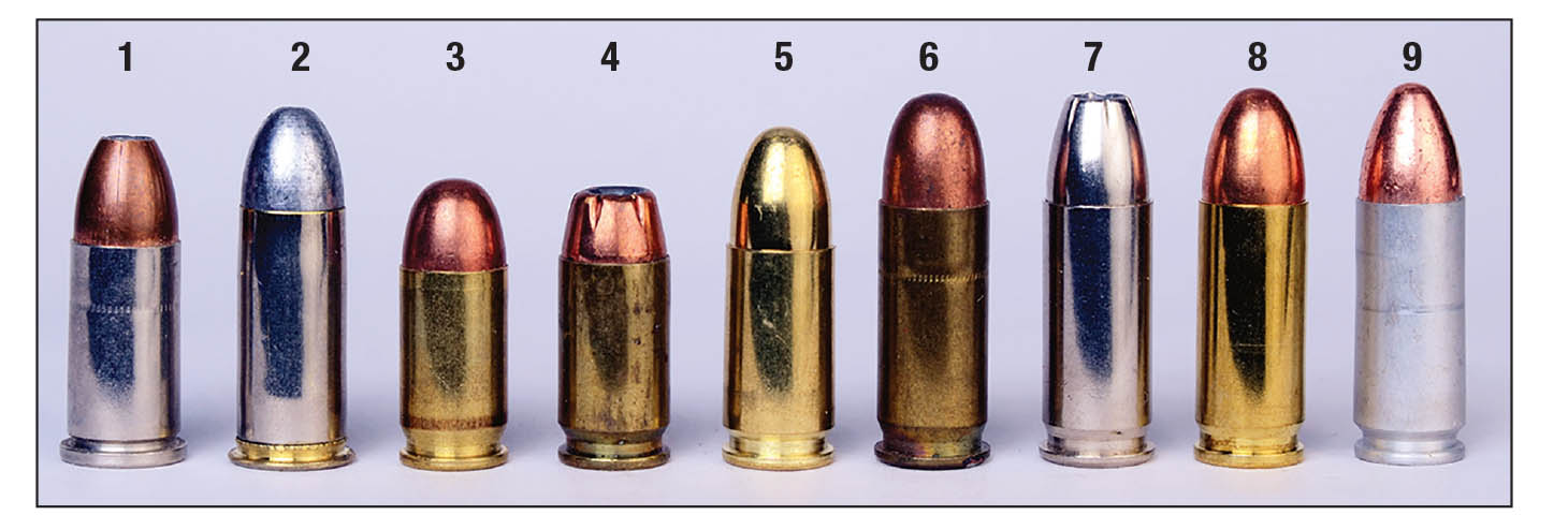 These various cartridges are 9mms in name or dimensionally: (1) 9mm Federal Revolver, (2) 9mm Japanese Revolver, (3) 9mm Kurz (.380 Auto), (4) 9mm Makarov, (5) 9mm Parabellum, (6) .38 Auto, (7) .38 Super +P, (8) 9mm Steyr and (9) 9mm Largo.