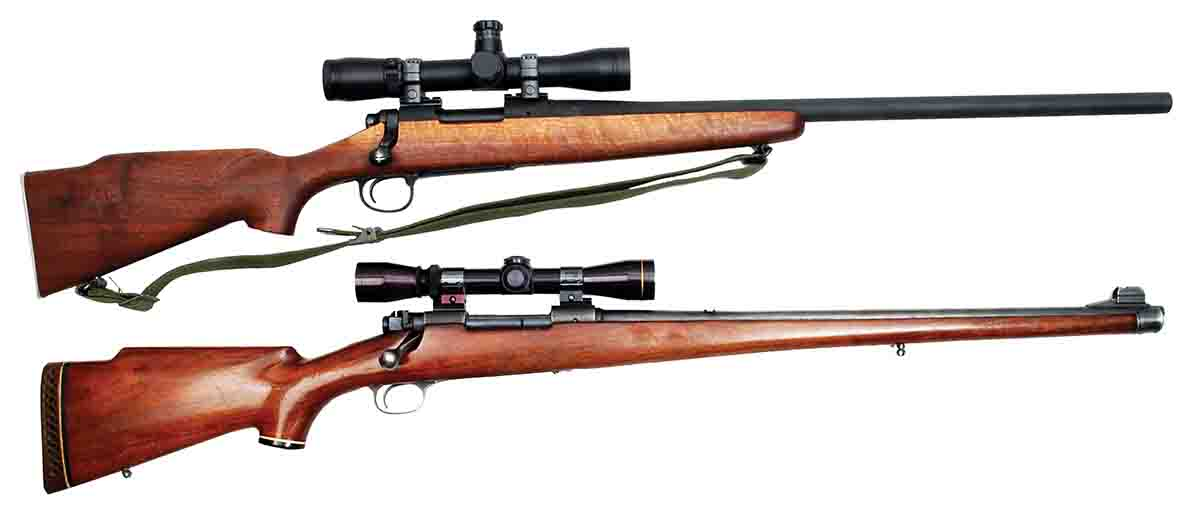Mike's .308 Winchester bolt actions have included these two. At top is a Remington Model 700V (M40) with a Leupold M4 3-9x scope. The bottom rifle is a Winchester Model 70 Featherweight with 2-7x scope.