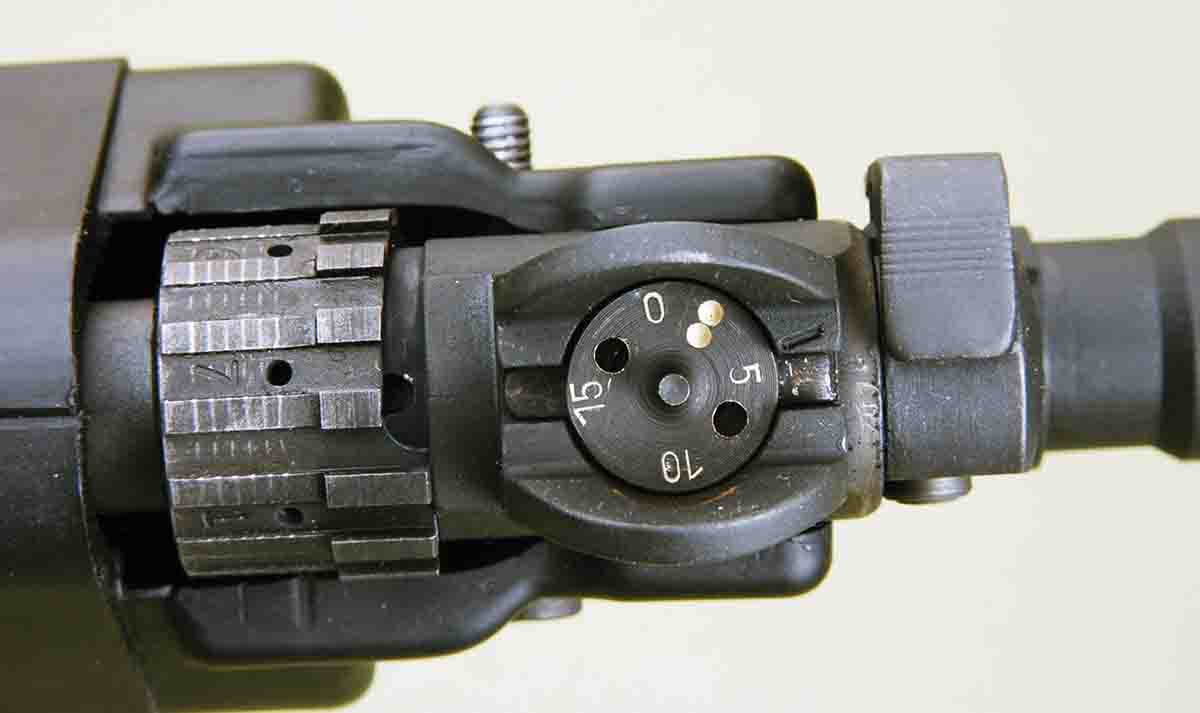 This photo shows the external gas port adjustment on the DS Arms .308 Winchester.