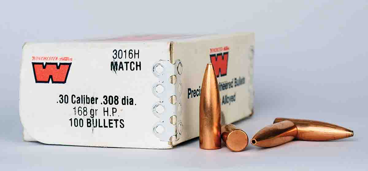 These 168-grain flat base HP match bullets were the most accurate projectiles Mike has ever tried in his Shilen-barreled bolt action.