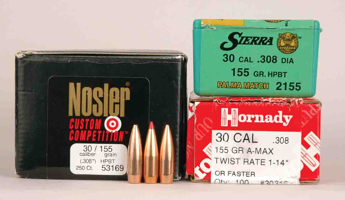 Whether with scoped semiautos or competition grade bolt actions, Mike recommends these 155-grain match bullets.