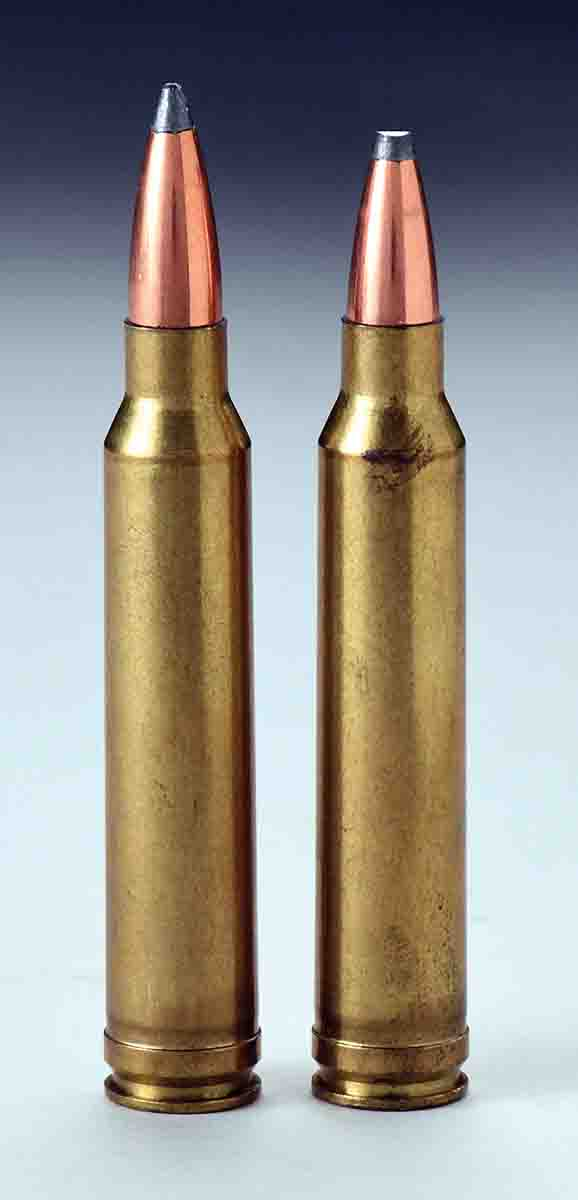 The bullet in the .300 Winchester Magnum cartridge at right has a flattened lead tip and has been pushed deeper inside the case. Severely flattened tips are usually caused by leaving a round in the bottom of a magazine box while the rifle is fired repeatedly.