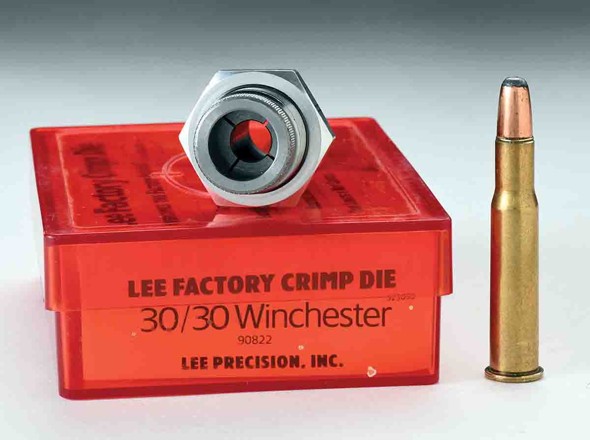 Lee Precision makes a Factory Crimp Die that utilizes a collet for crimping much like a bullet puller collet. The case at right has been crimped with the Lee Factory Crimp Die.