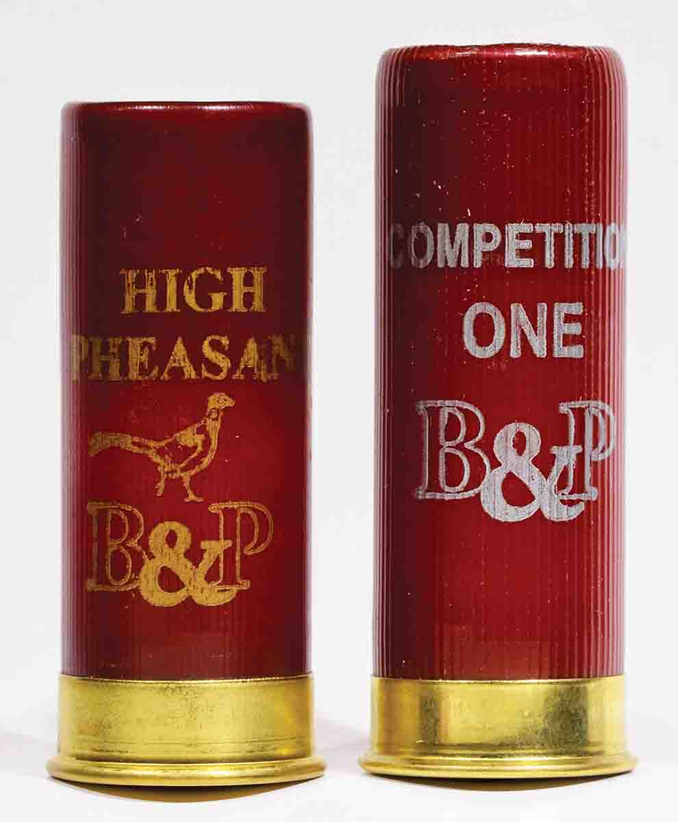 B&P's High Pheasant (left) is a 2½-inch shotshell. At right is B&P's Competition One, at 2¾ inches. The quarter-inch difference in chamber length, while not necessarily presenting a problem, can affect both patterns and point of impact.