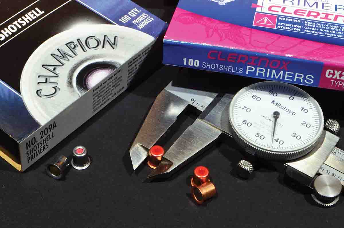 Both Cheddite and Fiocchi primers measure .243 to .244 inch. American primers, like the Federal Champion, are .240 inch. The extra diameter is a better fit for European primer pockets and it also affords a more snug fit after a few firings when the pocket might expand slightly.