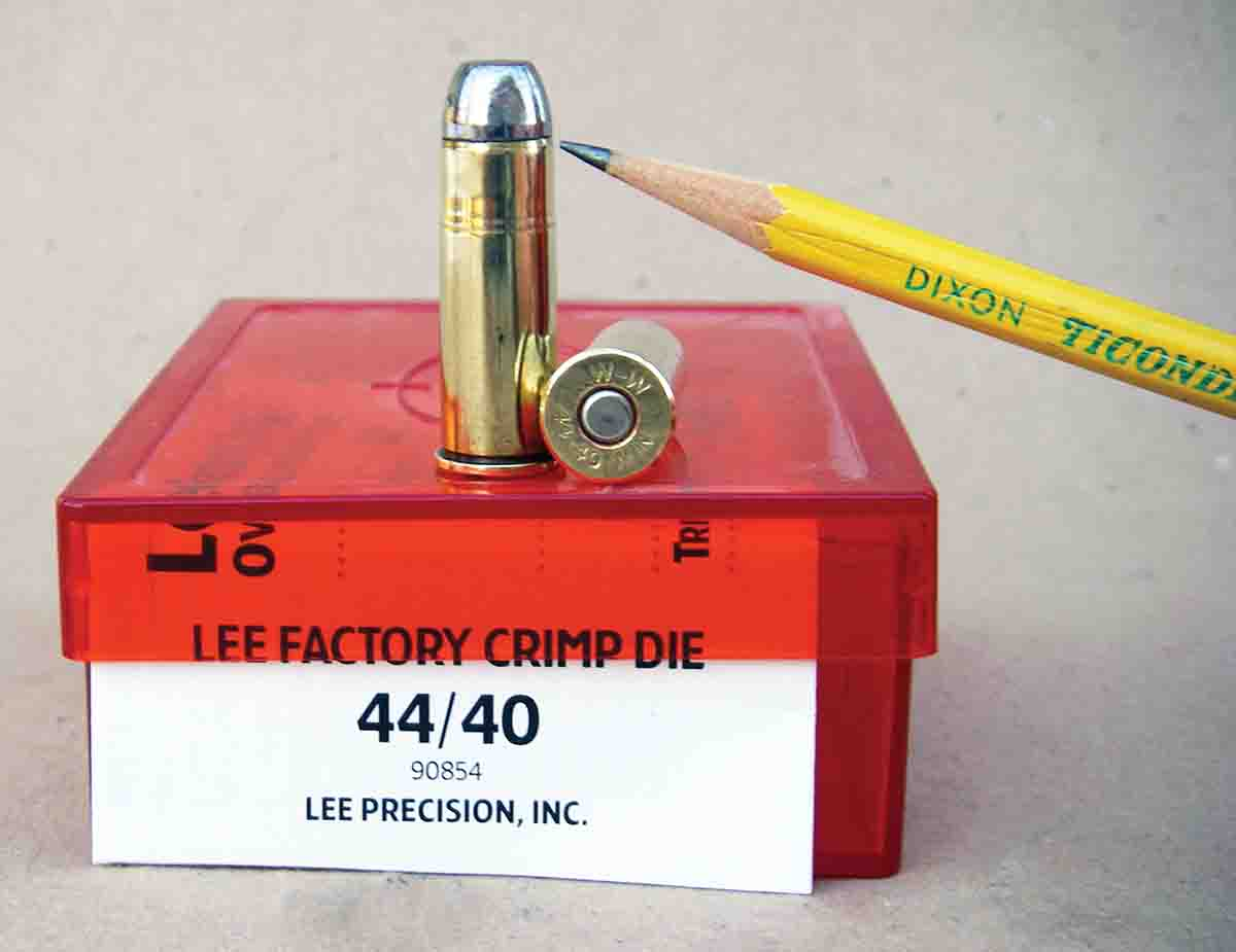 Obtaining a proper crimp on .44-40 Winchester cartridges used in rifles with a tubular magazine is critical to keep bullets from becoming deep seated. This cartridge has been roll crimped, using the Lee Factory Crimp Die.