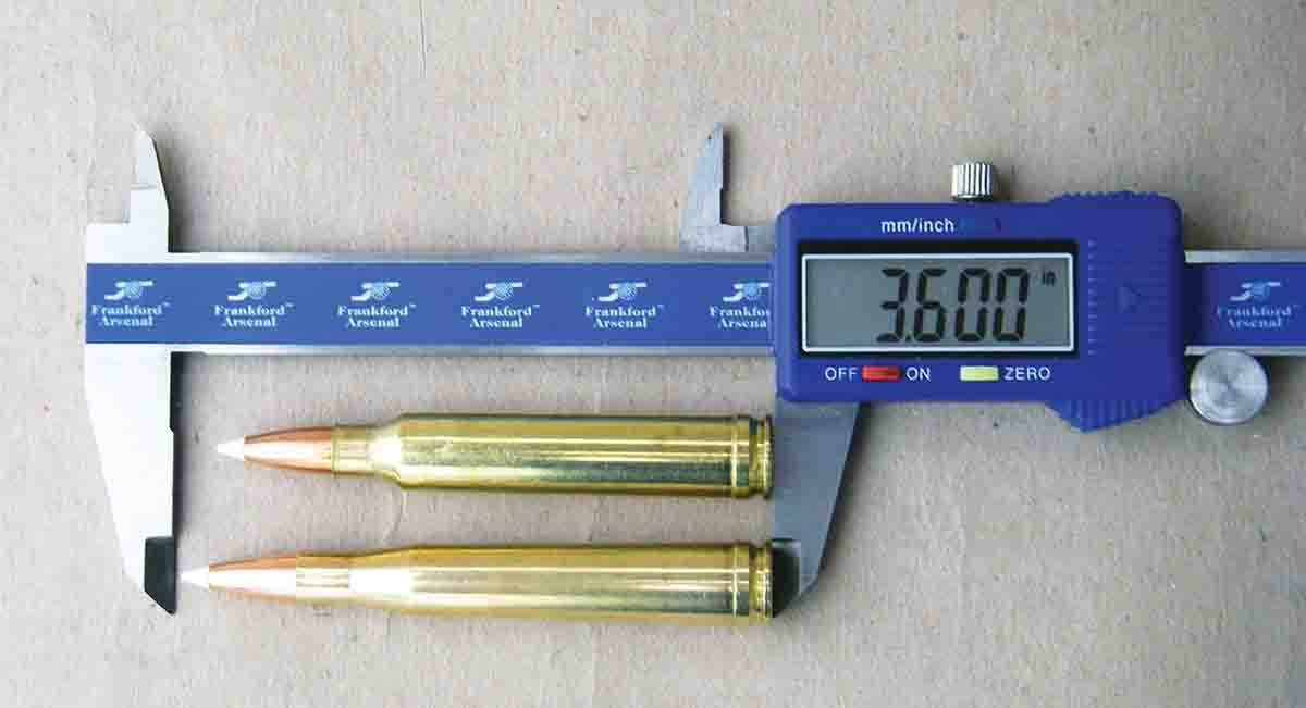 The .300 Winchester Magnum at top is notably shorter than the .300 H&H Magnum.