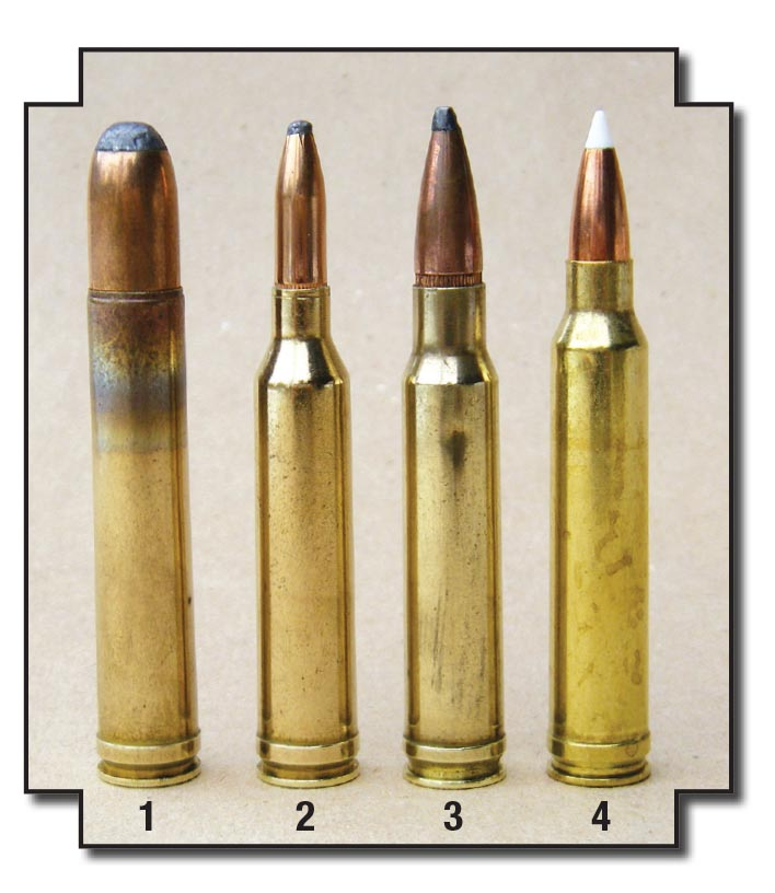 Winchester's family of .30-06-length magnum cartridges: (1) .458 Winchester Magnum (1956), (2) .264 Winchester (1958),  (3) .338 Winchester (1958) and the (4) .300 Winchester Magnum (1963). The .300's shoulder was moved forward for greater  powder capacity.