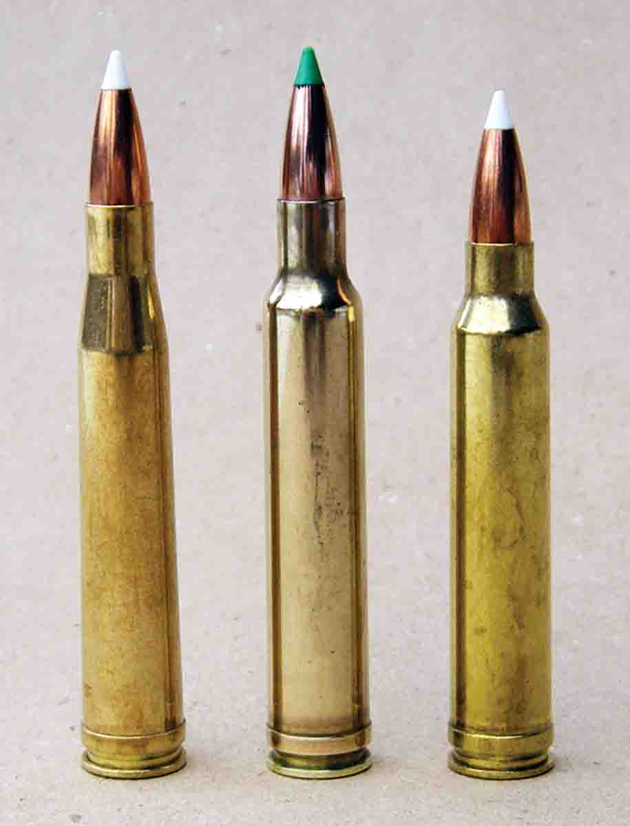 These .30-caliber magnums included (left to right): the .300 H&H Magnum (1925), .300 Weatherby Magnum (circa 1945) and .300 Winchester Magnum. The latter was based on the same belted case and has an overall length of 3.340 inches to function in .30-06 length-bolt actions.