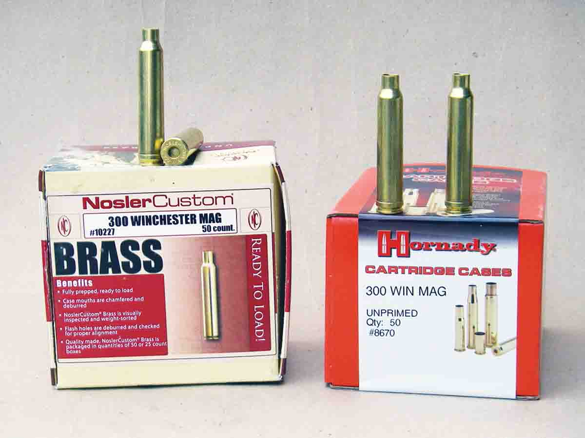 Nosler and Hornady offer top quality cases as components to handloaders.