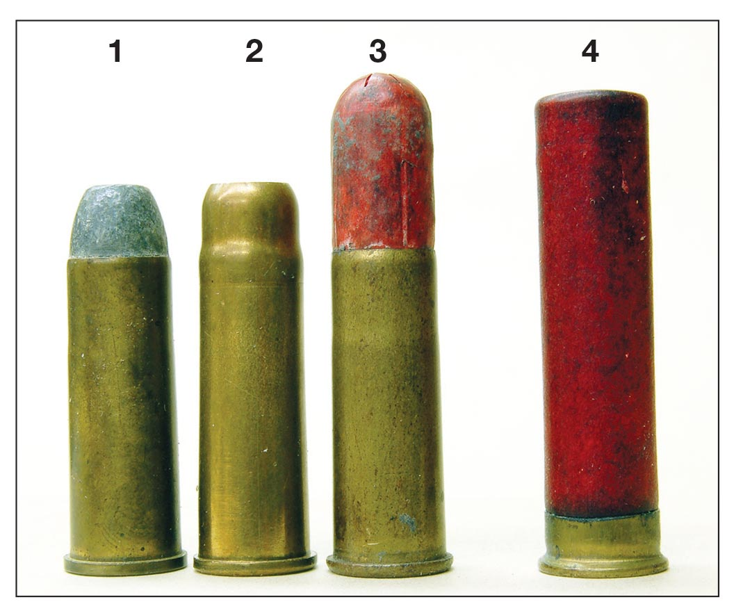 These cases include a (1) .44 WCF, (2) .44 WCF extended case shot, (3) .44 WCF with paper shot capsule called 44XL, which some think led to the (4) 2-inch .410 or longer cases.