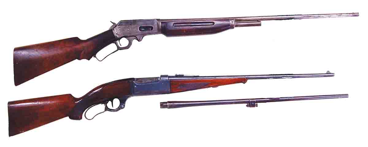 Some interesting guns have chambered the 2½-inch .410, like the Marlin Model 410 (top) available for only four years, and the Savage M99 takedown with an extra .410 barrel.