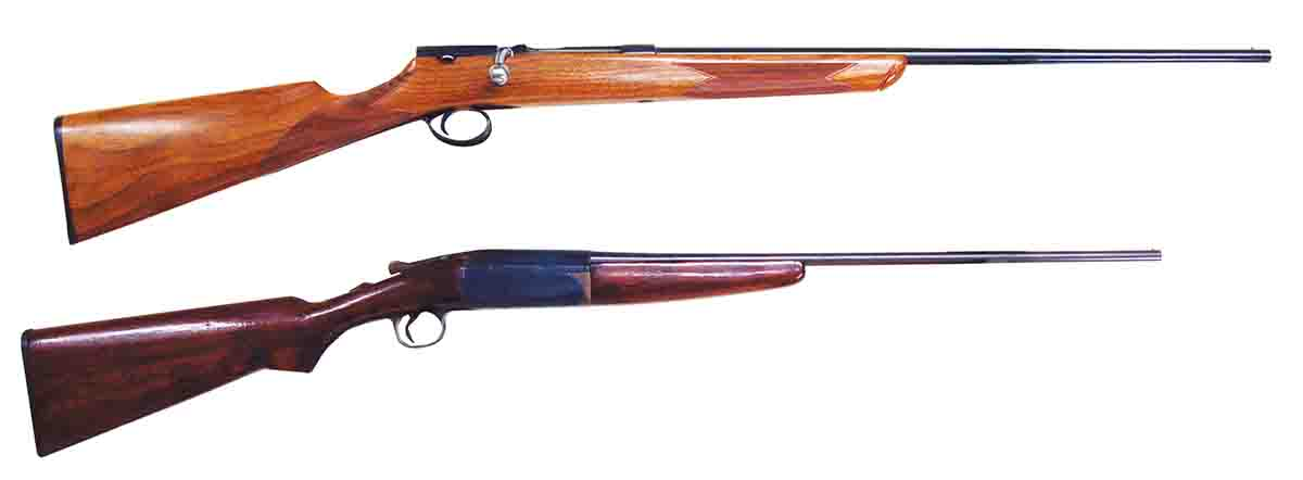 "At top is a reproduction of a Midland Gun Co. (England) ""garden gun"" of 1932. Below is a Gambles stores single shot."
