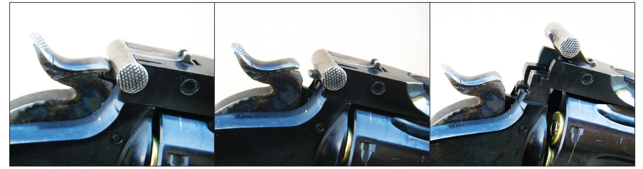 With the hammer in the down position, the action cannot open. With the hammer pulled back to the first notch, the action can be opened to load and unload by pulling the locking latch upward.