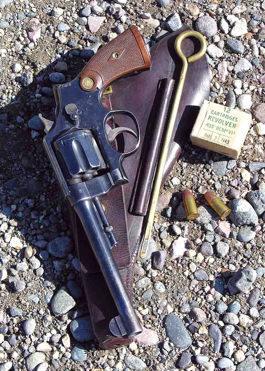 This S&W Second Model Hand Ejector .455 was factory lettered to the Canadian Government in 1916.