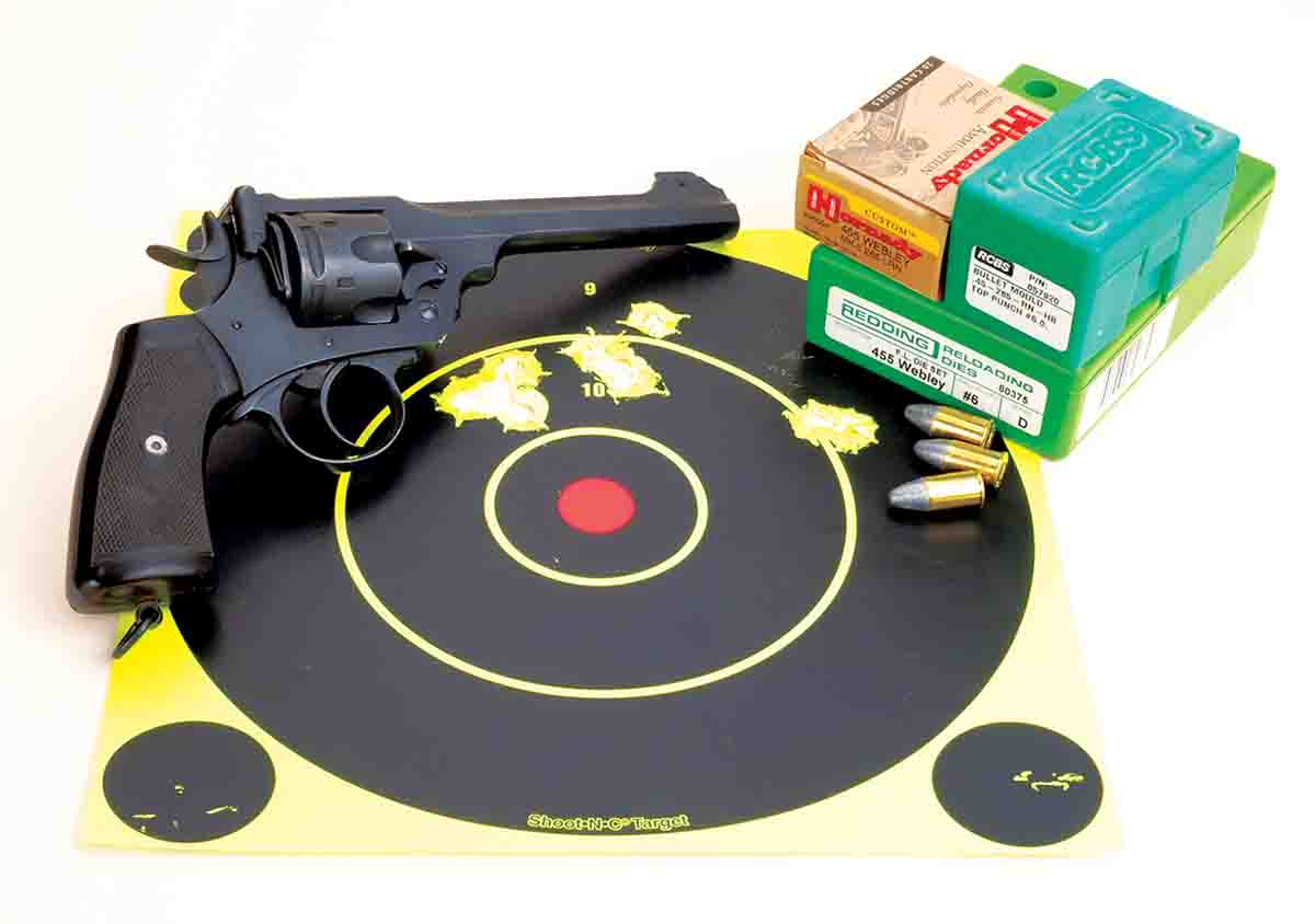 Mike's Webley Mk VI .455. Note that at 25 yards it shoots high with 265-grain Hornady factory loads.