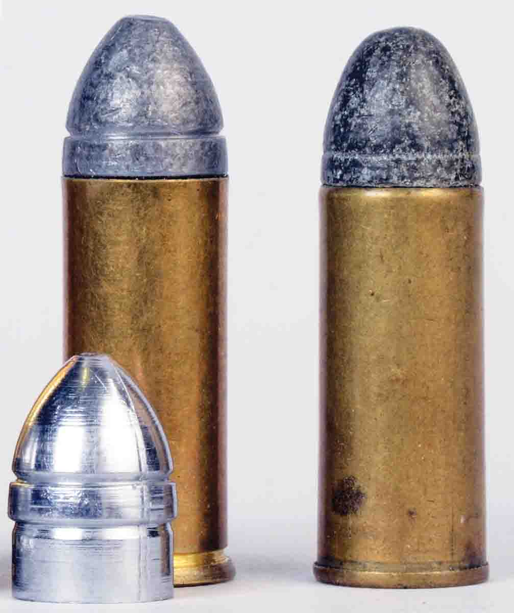 America's first .45 cartridge (in fact, if not in name) was the .44 Colt. At left is Mike's handload with a Rapine mould 451210 bullet. At right is an original Remington-UMC .44 Colt factory round.