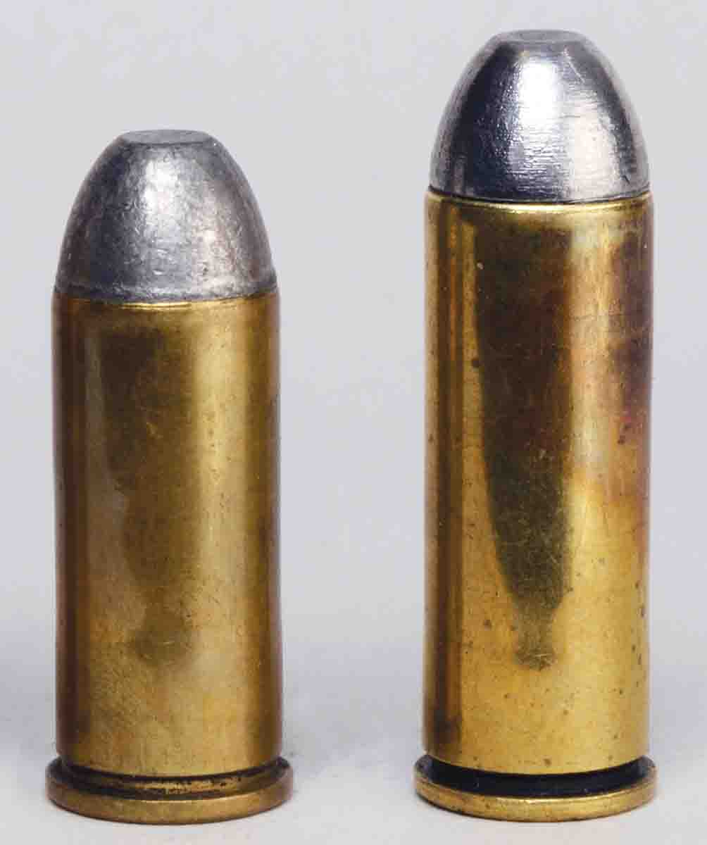 The comparison between the .45 S&W (Schofield) and .45 Colt is evident here. Case length, overall length and rim diameters are different.