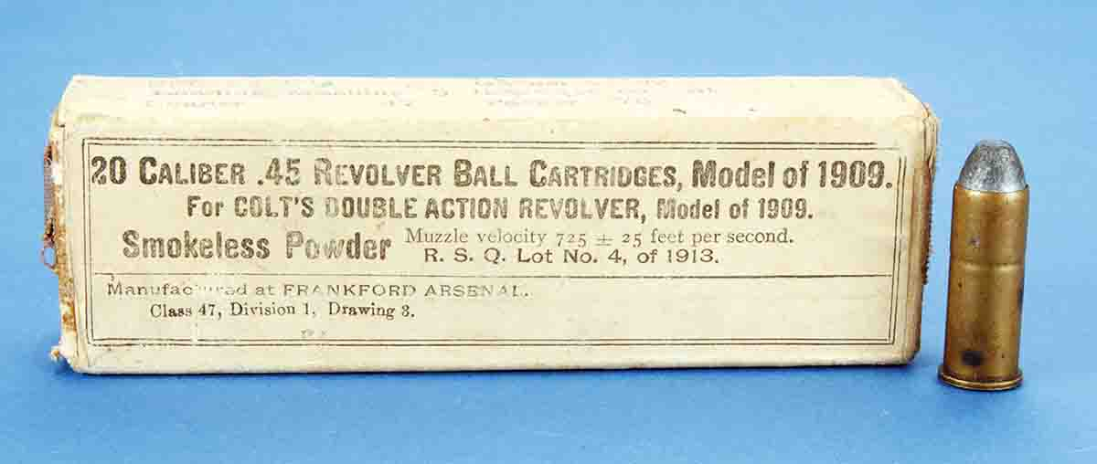 As this box of ammunition for Colt's Model 1909 revolver shows, rated velocity was 725 fps, plus or minus 25 fps.