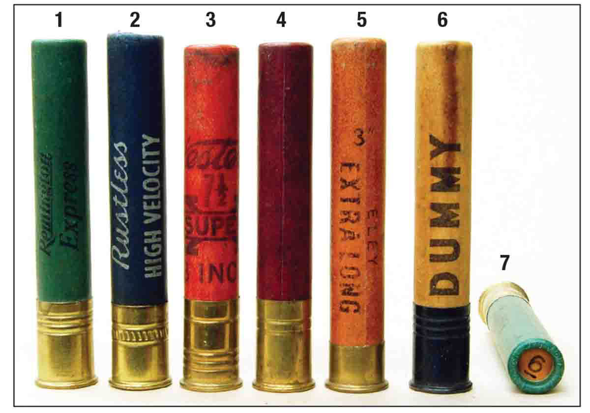 Paper 3-inch .410s of the past include: (1) Remington, (2) Peters, (3) Western, (4) Federal, (5) Eley, (6) dummy to test gun function and (7) a roll crimp.