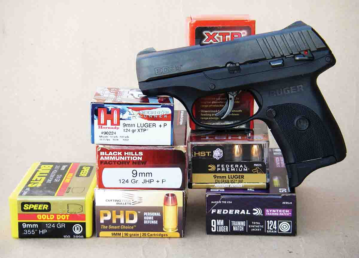 The Ruger EC9s was test fired with a variety of factory loads and handloads.