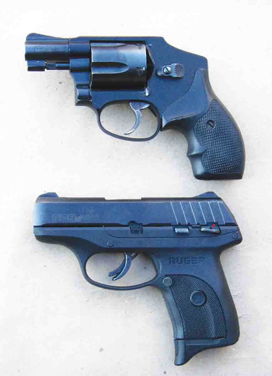 For size comparison, the EC9s 9mm Luger (bottom) is shown next to the popular Smith & Wesson J-frame five-shot .38 Special Model 442 (top).
