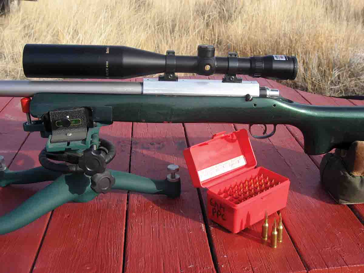 John bought this used 6mm PPC benchrest rifle almost a decade ago, mostly to see what tweaks made the most difference in accuracy. The tests are still ongoing.