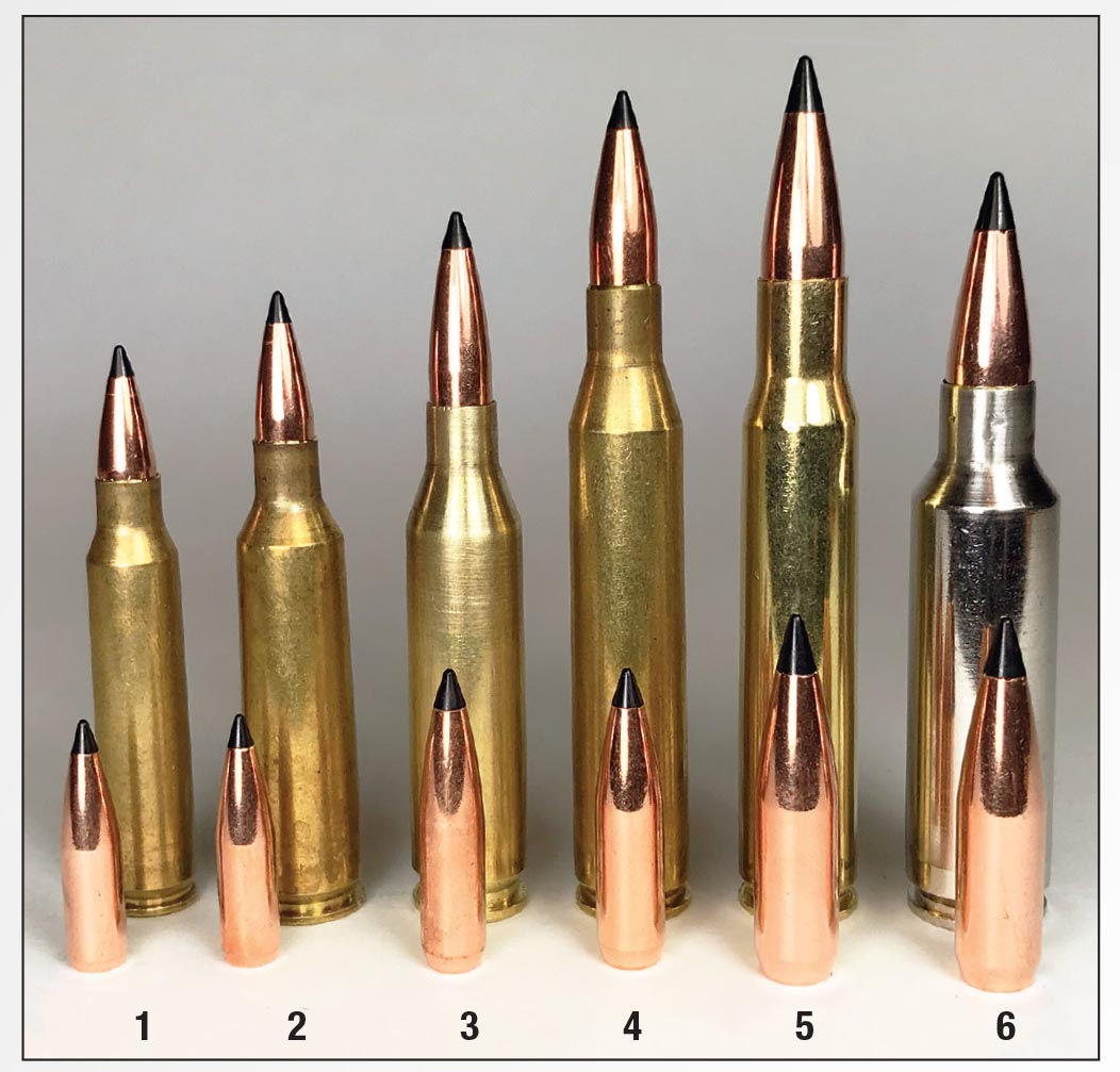 Scirocco II bullets were handloaded in six cartridges: (1) .223 Remington, (2) .22-250 Remington, (3) .243 Winchester, (4) .25-06 Remington, (5) .30-06 and (6) .300 WSM.