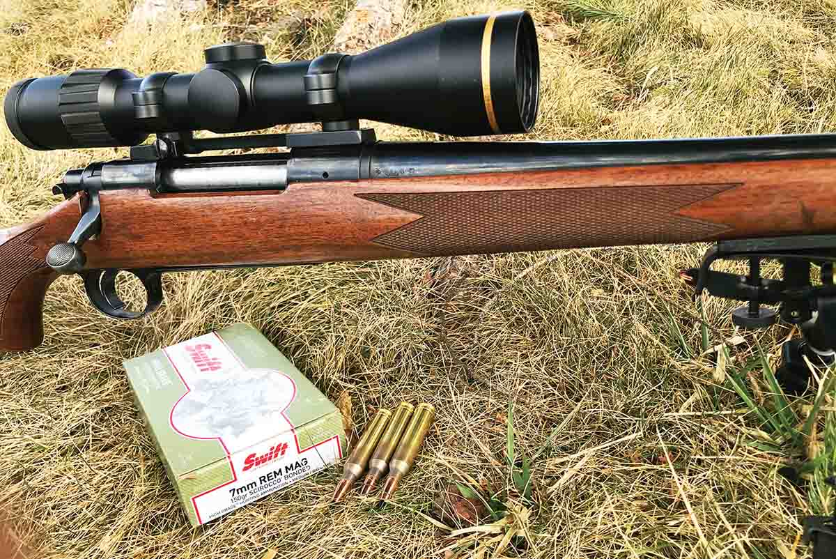 Swift High Grade factory 7mm Remington Magnum cartridges loaded with 150-grain Scirocco bullets averaged just over one-inch groups shot from a Remington Model 700 Classic.