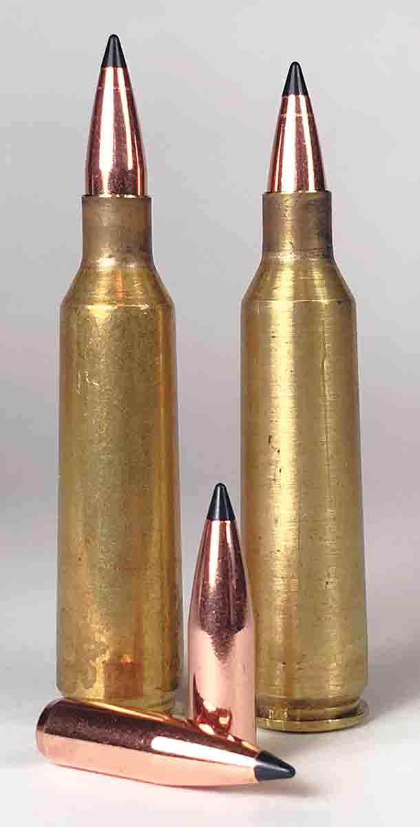 Bullet seating depth made quite a bit of difference for the .22-250. The cartridge at left had an overall length of 2.46 inches compared to the 2.36-inch cartridge length on the right.