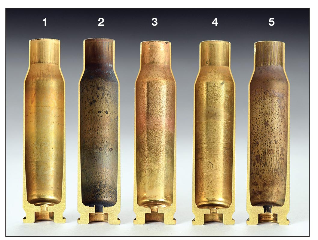 Hardness is not the only factor that affects brass life from a handloading standpoint. Cases vary in construction. These .308 Winchester cases include (1) Hornady, (2) Federal, (3) Winchester, (4) Nosler and (5) Lake City 11.