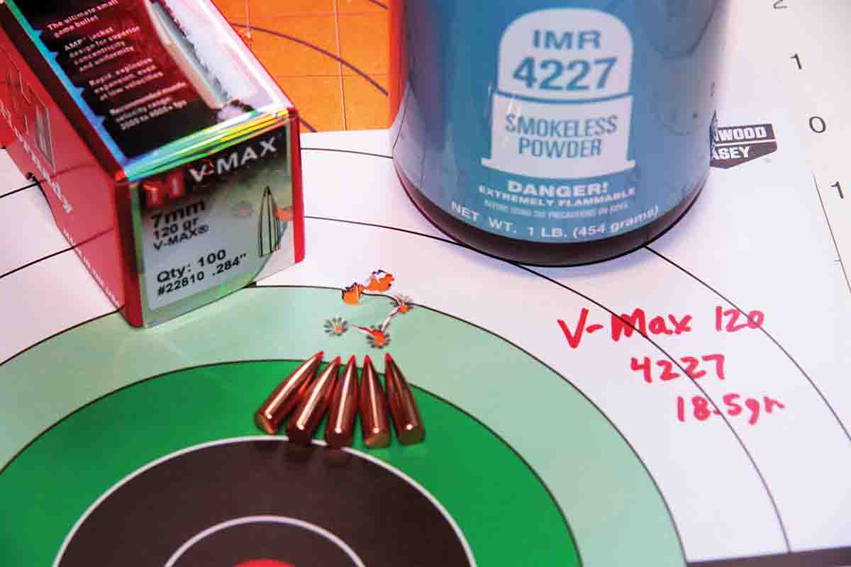 Venerable IMR-4227 proves compatible in many bottleneck pistol cartridges, the 7mm TCU included. Using 18.5 grains for 1,822 fps produced this impressive .5-MOA group at