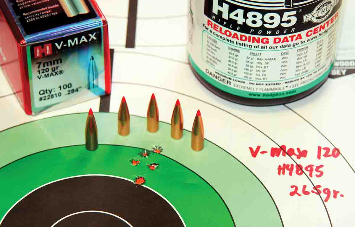 Hornady's 120-grain V-Max performed well. Seated over 26.5 grains of Hodgdon H-4895, the load pushed 1,903 fps and produced a .62-inch, five-shot cluster.